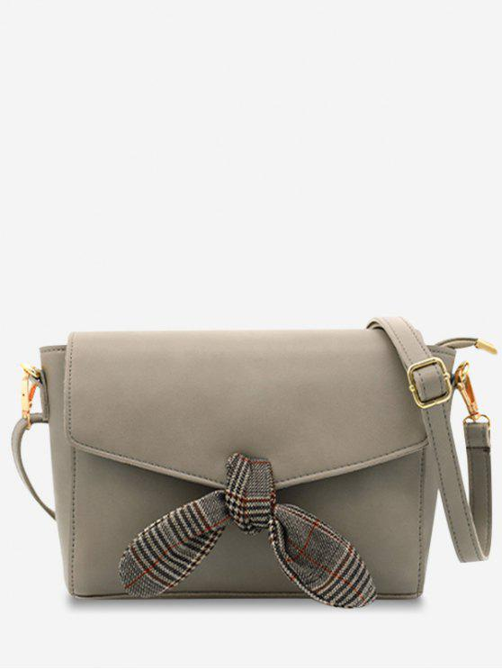 best Flap Bow Embellished Faux Leather Casual Crossbody Bag - GRAY
