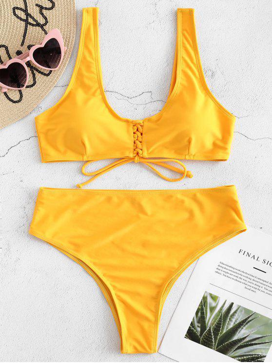 women Front Lace Up High Waisted Bikini - BRIGHT YELLOW S
