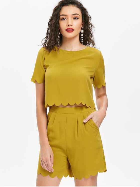 new Scalloped Top and Shorts Set - MUSTARD S