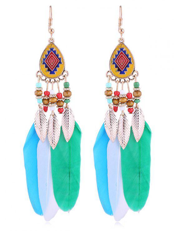 Orecchini A Cerchio Con Piuma E Perline Bohemian - Multi Colori