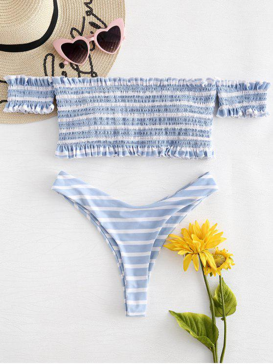 Bikini deshilachado a rayas con hombros descubiertos - Multicolor L
