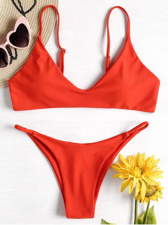 Gepolstertes Niedrige Taille Bikini Set - Leuchtend Orange S
