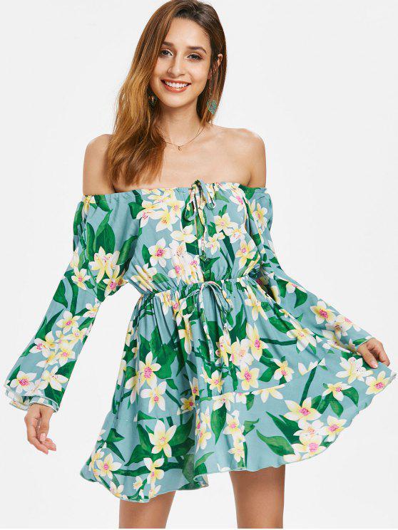 3782da047a81 34% OFF  2019 Floral Bell Sleeve Off Shoulder Dress In BLUE HOSTA ...