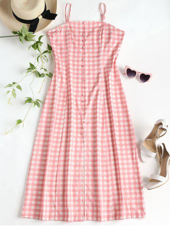 unique Slit Gingham Midi Dress - PINK L