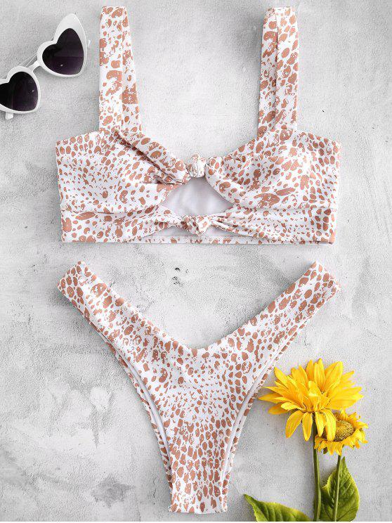Breiter Riemchen Vorder Knoten Muster Bikini - Weiß M