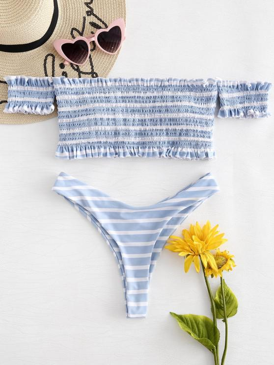 hot Off The Shoulder Striped Smocked Bikini - MULTI L