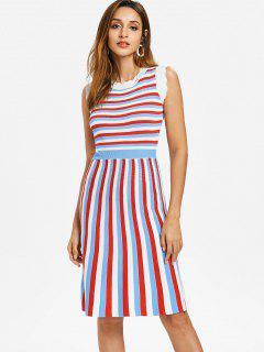Tricolor Striped Knit Midi Skater Dress - Multi