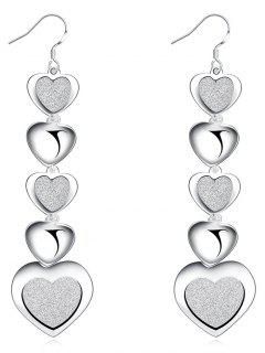 Stylish Pendant Heart Hook Earrings - Silver