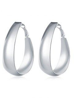 Vintage Sterling Silver Round Hoops Earrings - Silver