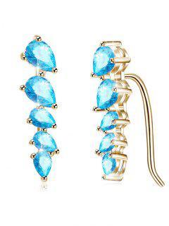 Pendientes De Gota En Forma De Hoja De Circonita Brillante - Azul Circonita