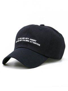 Letter Sentence Embroidery Trucker Hat - Black
