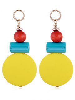 Unique Round Balls Resin Drop Earrings - Yellow