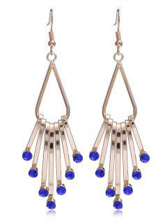 Unique Faux Crystal Alloy Fringed Hook Earrings - Blue