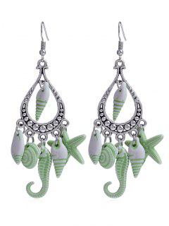 Hippocampus Star Shell Decorative Fringed Hook Earrings - Green