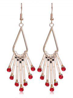 Unique Faux Crystal Alloy Fringed Hook Earrings - Red