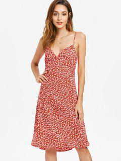 Side Zipper Floral Cami Dress - Red L