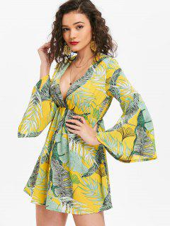 Flared Sleeve Palm Leaves Mini Dress - Corn Yellow M