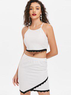 Scalloped Cami Skirt Set - White L