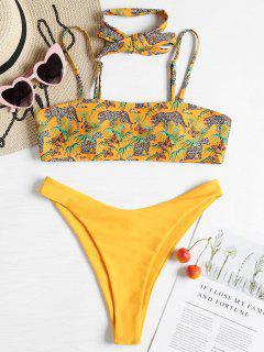 Bikini De Corte Alto Con Tubo De Leopardo - Caucho Ducky Amarillo L