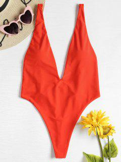 High Cut Plunging Neck Swimsuit - Bright Orange M
