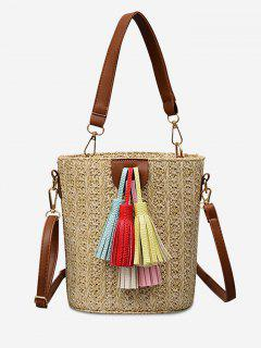Straw Bucket Shaped Straw Leisure Tassels Tote Bag - Light Khaki