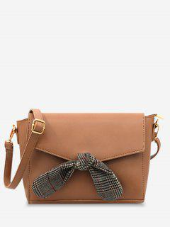 Flap Bow Embellished Faux Leather Casual Crossbody Bag - Brown