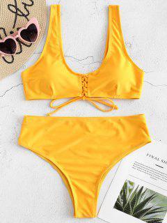 Vorderer Schnürung Bikini Mit Hoher Taille - Helles Gelb L
