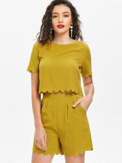 Scalloped Top And Shorts Set - Mustard L