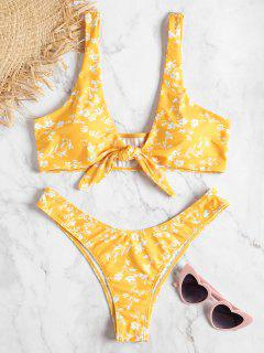 Floral Knotted Low Rise Bikini Set - Bright Yellow L
