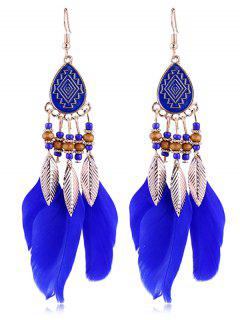 Vintage Beaded Feather Bohemian Earrings - Royal Blue
