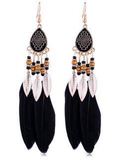 Vintage Beaded Feather Bohemian Earrings - Black