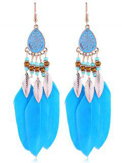 Vintage Beaded Feather Bohemian Earrings - Light Blue