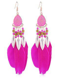 Vintage Beaded Feather Bohemian Earrings - Rose Red