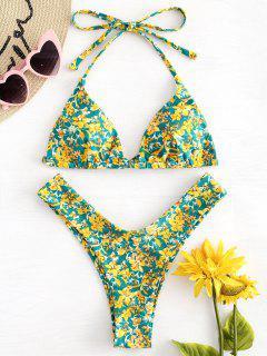 Halter Hohe Schlitz Winzige Blumen Bikini - Multi L