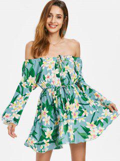 Robe à Épaules Dénudées Et à Manches En Cloche Motif Floral  - Bleu Hosta Xl