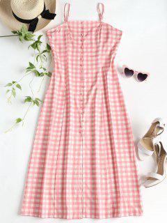 Slit Gingham Midi Dress - Pink L