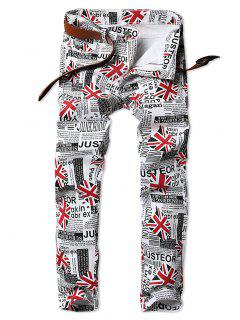 Union Flag Newspaper Print Slim Fit Jeans - Milk White 36