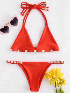Shelled String Bikini Set - Shocking Orange Xl
