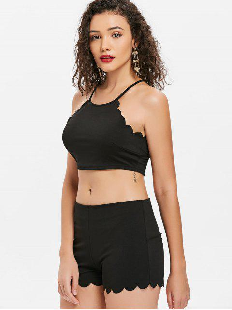 shop Cropped Scalloped Top and Shorts Set - BLACK L Mobile