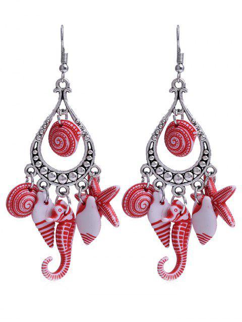 Hippocampus Star Shell dekorative Fransen Haken Ohrringe - Rot  Mobile