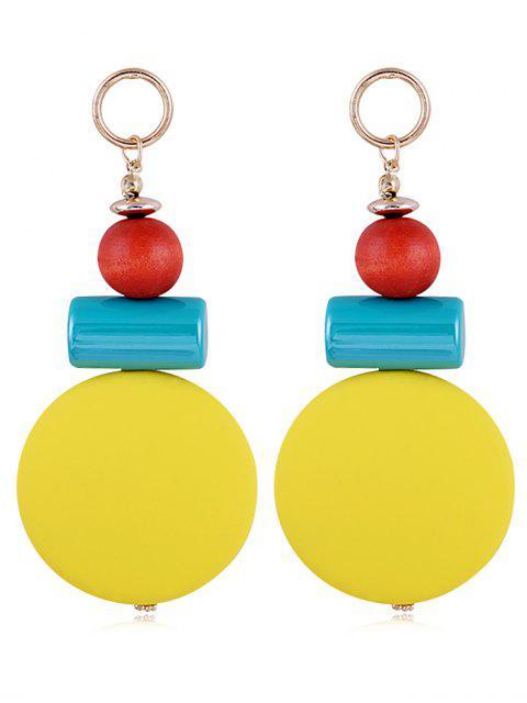 Boucles d'Oreilles Pendantes en Boules de Résine Style Unique - Jaune  Mobile