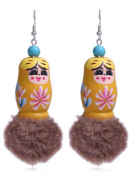 ladies Unique Fuzzy Ball Russian Doll Hook Earrings - SUN YELLOW  Mobile