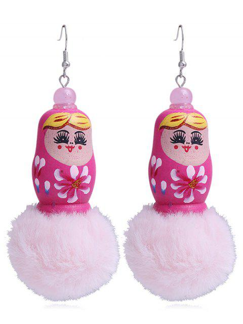 lady Unique Fuzzy Ball Russian Doll Hook Earrings - ROSE RED  Mobile