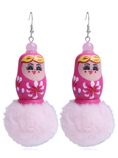 Einzigartige Fuzzy Ball russische Puppe Haken Ohrringe - roda rot   Mobile