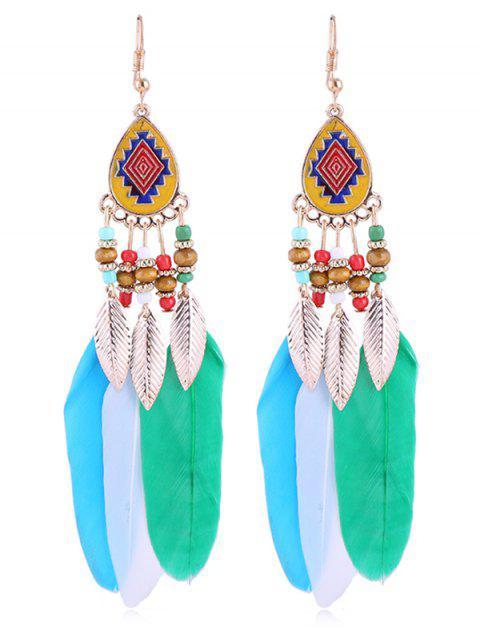 Pendientes bohemios de plumas de abalorios vintage - Multicolor  Mobile