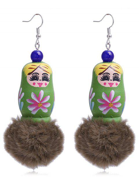 Einzigartige Fuzzy Ball russische Puppe Haken Ohrringe - Grün  Mobile