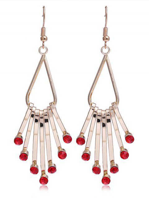 women Unique Faux Crystal Alloy Fringed Hook Earrings - RED  Mobile