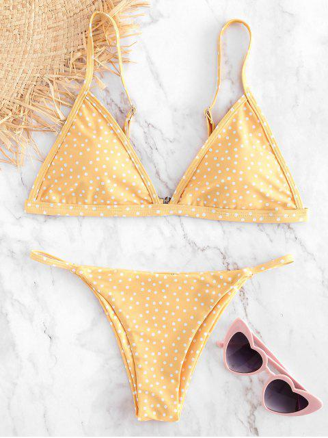 Conjunto de bikini con tanga de lunares - Amarillo Brillante M Mobile