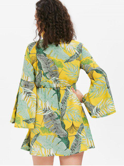 lady Flared Sleeve Palm Leaves Mini Dress - CORN YELLOW L Mobile
