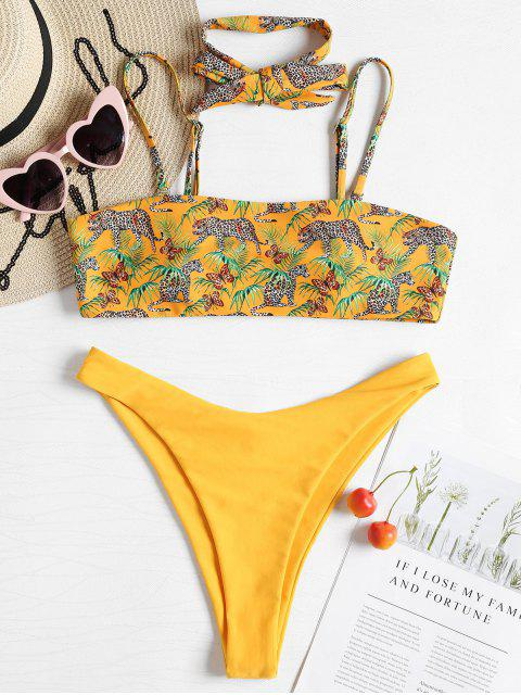 outfit Leopard Tube High Cut Bikini - RUBBER DUCKY YELLOW L Mobile